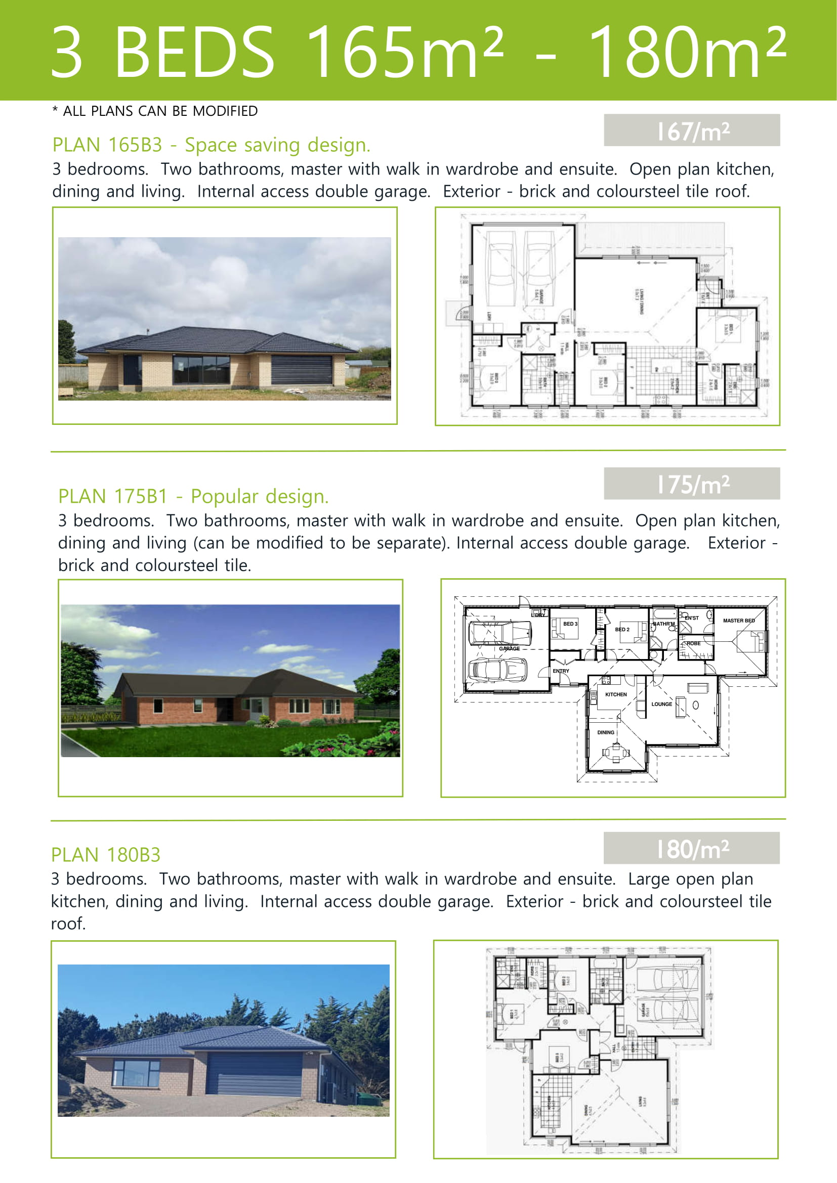 Plans up to 180M2