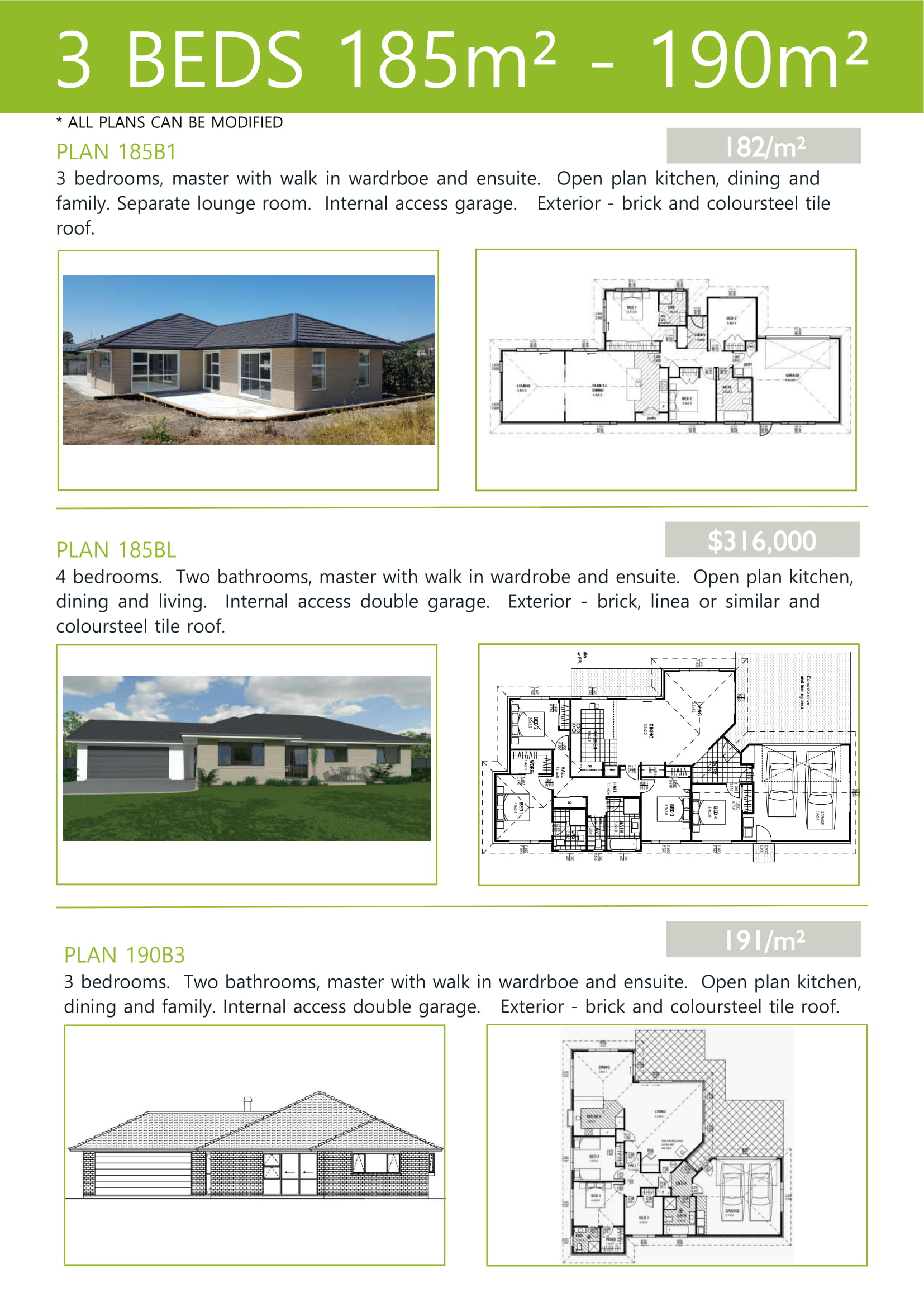 Plans up to 190M2