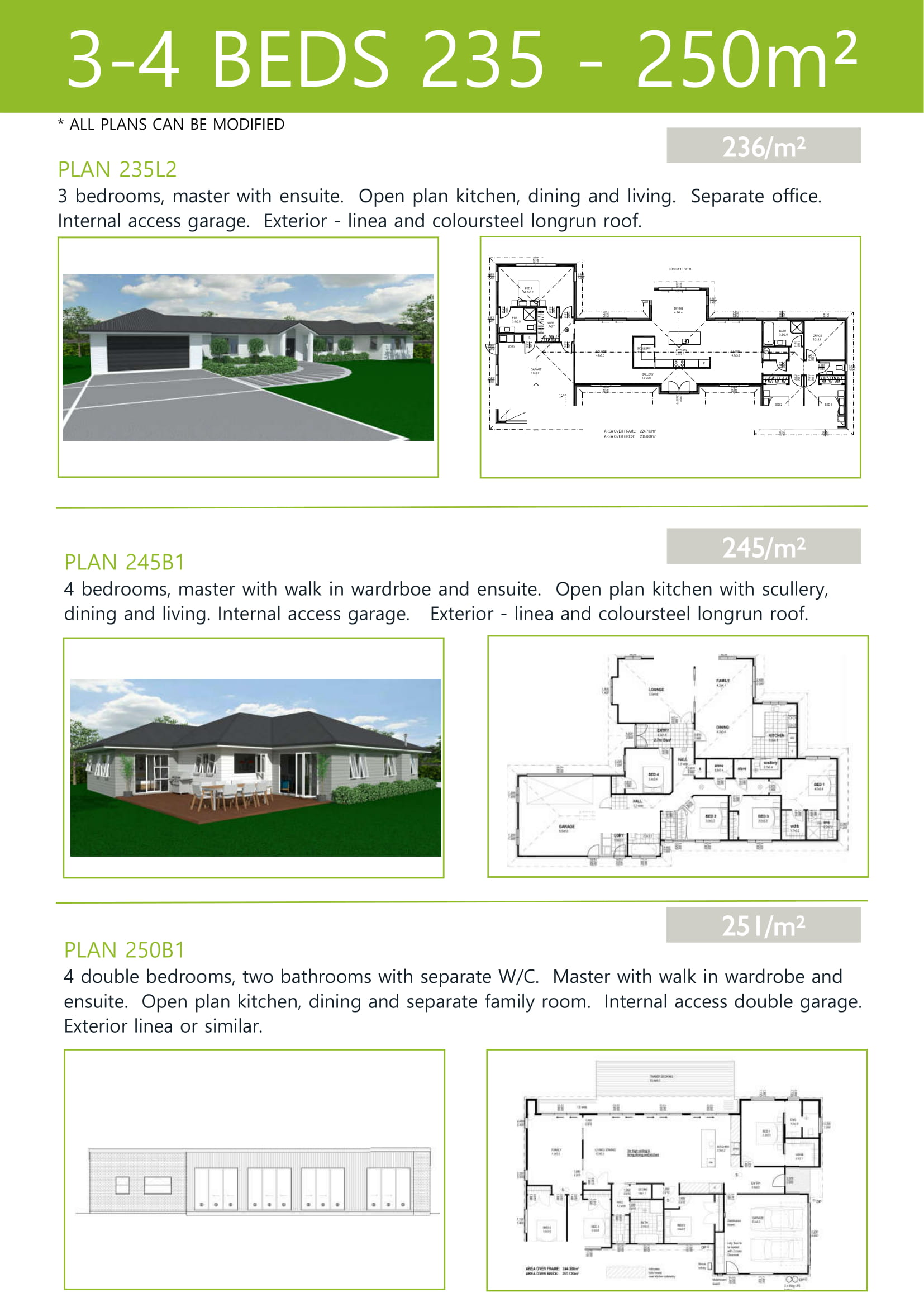 Plans up to 250M2